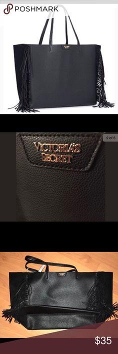 "VS 2016 large black fringe tote Large black fringe VS tote. NWT's never used. Bag length 23.5"", depth 7"", Height 13"". Victoria's Secret Bags Totes"