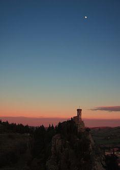 Morning Moon in Brisighella, Emilia-Romagna, Italy, province of Ravenna