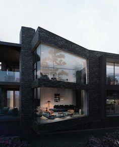 Protruding glass walls in modern black brick building Dream Home Design, Modern House Design, My Dream Home, Style At Home, Architecture Design, Concrete Architecture, Design Loft, Black Brick, Black Dark