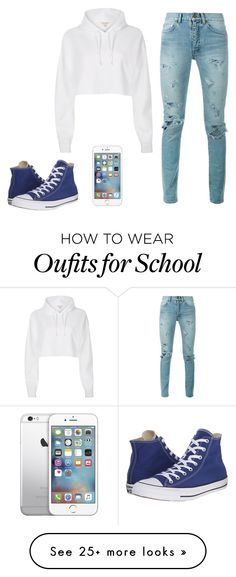 """School Pride"" by zmommyandme on Polyvore featuring River Island, Yves Saint Laurent and Converse"