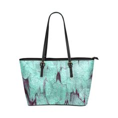 Rock Castle turquoise, wine red abstract texture Leather Tote Bag/Small (Model 1651)