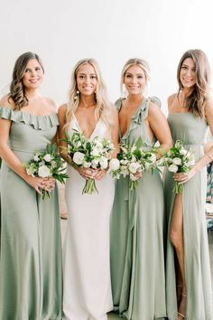 sexy wedding dress with plunging neckline and sage green bridesmaid dresses We're pretty confident you're going to fall madly in love with today's Miami Beach wedding amidst striped umbrellas, ocean waves and muted seafoam tones. Sage Bridesmaid Dresses, Beach Bridesmaid Dresses, Sexy Wedding Dresses, Boho Wedding Dress, Beach Wedding Bridesmaids, Simple Bridesmaid Bouquets, Mint Green Bridesmaids, Bridesmaids With Different Dresses, Patterned Bridesmaid Dresses