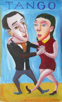 """""""Pareja de tango 2B """", acrílico sobre tela, 25 X 30 cm , 2004"""