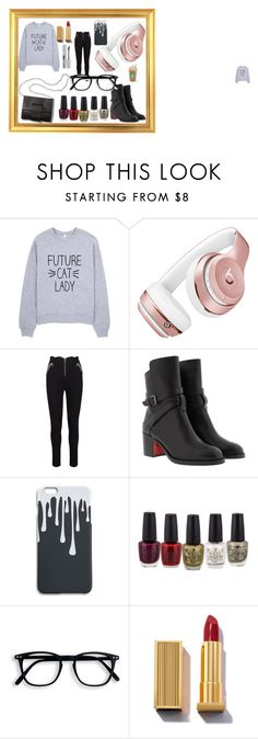 """layback friday!!"" by creeisthebomb on Polyvore featuring Beats by Dr. Dre, Christian Louboutin, MM6 Maison Margiela and LORAC"