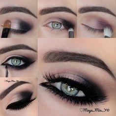 Romantic and soft pastel pink/purple and black smokey eye makeup #tutorial #maquiagem #evatornadoblog #howto #smokeyeye