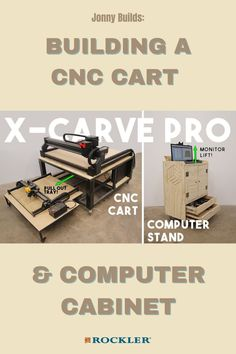 Watch as Jonny Lambert builds a great CNC stand and a computer stand--with a hidden feature! Check out the video here. #createwithconfidence #cnc #computer #xcarve #shopstorage Cnc Projects, Cool Woodworking Projects, Woodworking Videos, Woodworking Shop, Workshop Organization, Shop Storage, Cnc Machine, Power Tools, Project Ideas