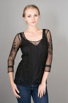 1910s and 1920s Vintage Inspired Art Nouveau Top in Black by Nataya $128.00 AT vintagedancer.com