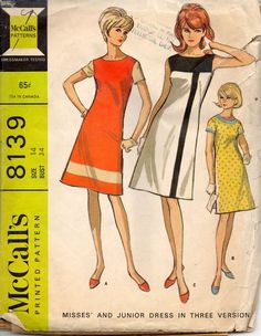 McCalls 8139 Misses Mod Color Block Mondrian A Line Dress Pattern Womens vintage Sewing Pattern Size 10 Bust 31 Or 13 Bust 33 Shift Dress Pattern, Dress Patterns, Mccalls Sewing Patterns, Vintage Sewing Patterns, Pattern Sewing, Robes Vintage, Vintage Dresses, French Fashion Designers, Young Fashion