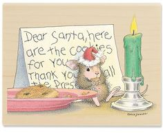Dear Santa: I ate your. - - The Official House-Mouse Designs® Web Site Noel Christmas, Vintage Christmas, Christmas Cards, Christmas Cookies, Christmas Animals, Xmas, Mus Musculus, Coloring Books, Coloring Pages