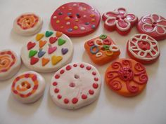 buttons, colorful, fimo