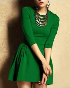 Green Retro Slim Short Dress
