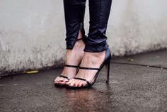 Mode Collective triple strap heels.
