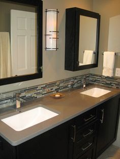Metro Master Bath - contemporary - bathroom - chicago - Insignia Kitchen and Bath Dark Cabinets with Grey Counter