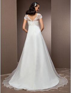 LAN TING BRIDE Trapèze Princesse Robe de mariée - Classique & Intemporel Brillant & Séduisant Inspiration Vintage Traîne Tribunal Col en V de 579735 2017 à €127.39