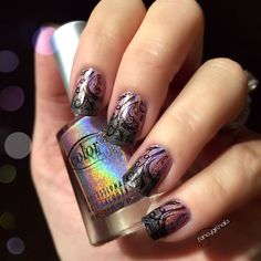 Colorclub Halo Hue Stamped with Princess plate by MoyouLondon Nail stamping Holographic nail polish Gradient Ombré Nails