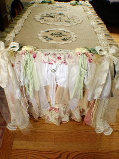 Paris Burlap Shabby Chic Table runner by KammysCreations on Etsy, $290.00