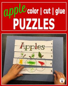 Apple Color, Cut and Glue Puzzles Preschool Puzzles, Preschool Learning, Teaching, Apple Activities, Motor Activities, Apple Picture, Apple Unit, Number Puzzles, Apple Theme