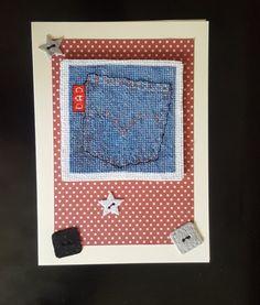Father's Day Card Dad Birthday Card Denim by GirlytoadsCreations