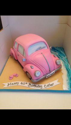 Pink vw beetle cake