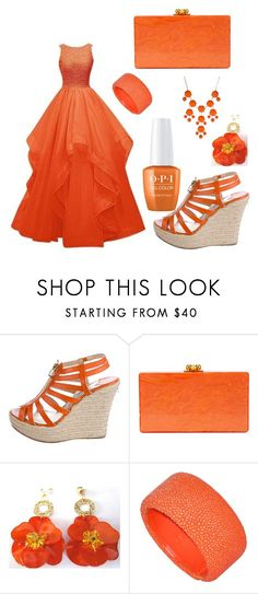 """Orange Countess"" by mochiballz on Polyvore featuring Jimmy Choo, Edie Parker and New Directions"
