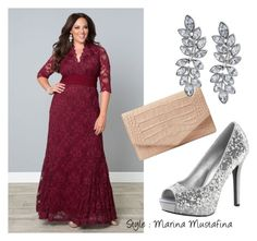 """""""Coctail evening look 07"""" by imagemaker-mustafina ❤ liked on Polyvore featuring Kiyonna, Emily Cho, Kenneth Jay Lane, NewYears, dress, cocktail, evening, newyear and plus size dresses"""