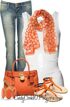 Like the orange polk-a-dot scarf...