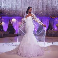 Veilonly Plus Size Sereia Vestidos de Noiva Manga Longa Vestidos De Noiva Querida Apliques Robe De Mariage vestidos de Noiva Vestido Vestidos