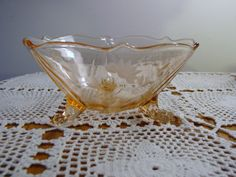 Lancaster Pink Depression Glass Etched Scalloped Footed