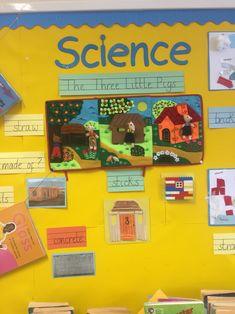 Lesson plans, science practical materials three little pigs display Science Lesson Plans, Science Lessons, Science For Kids, Science Projects, Science Display, Science Gallery, Science Stations, Class Displays, Traditional Tales
