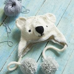Make this fun knitted polar bear hat - free pattern.