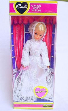 "Pedigree England SINDY 12"" VICTORIAN GALA DRESS Doll + ACCESSORIES MISB`70 RARE! 