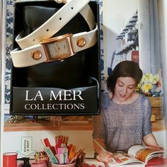 NIB La Mer Collections watch It is working just fine and is new in box with rose gold accents and White Band. This is the wraparound Style. Reasonable offers are welcome La Mer Accessories Watches