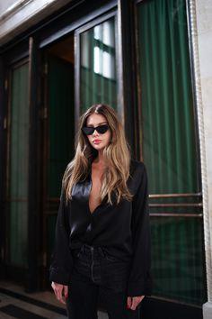 Moye  silk shirt, Levi's 501 Skinny via Previa  jeans, Le Specs The Last Lolita sunnies, Le Petit Trou  slippers