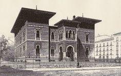 Palacio Xifre, estaba enfrente del museo del Prado. Grabado Foto Madrid, Moorish, Old Pictures, Notre Dame, Spain, Louvre, Building, Prado, Villa