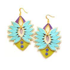 Spike Geometric Mint Earrings Pastel Rhinestone Gems, Boho Statement Jewelry