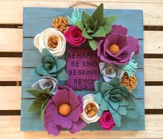 inspirational handpainted wooden wall sign with felt by ElleandLu