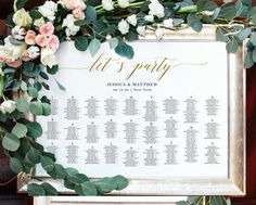 Gold Let's Party Alphabetical Seating Chart, Wedding Seating Sign, Seating Chart Board, Table Seatin Seating Chart Wedding Template, Table Seating Chart, Wedding Templates, Wedding Seating Signs, Wedding Signs, Wedding Ideas, Find Your Seat Sign, White Orchids, Gold Wedding