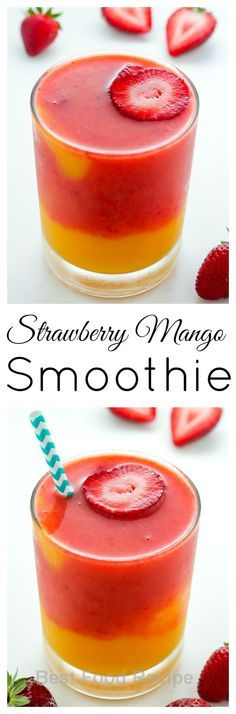 Strawberry Mango Smoothie - this recipe only calls for 3 ingredients and can be ready in 5 minutes! Treat yourself to one TODAY. http://food.superdodge.com