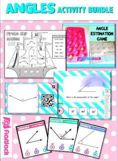 Angles Activity Bundle (CCSS 4.MD.C.5, 4.MD.C.6) - This bundle gives you five awesome activities for math stations, free time centers, etc. (You will need a Smart Board and a device with a Scan app for two of these activities.) Students will practice identifying , estimating, and measuring angles.