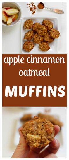 Apple Cinnamon Oatmeal Muffins are the perfect snack or breakfast on the go, made with fresh apples and whole grains. @MomNutrition