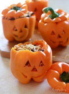 Stuffed pepper pumpkins