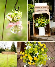 This was originally pinned as wedding decor, but I like the idea of putting a flower pot in an old crate. Would be cute to do on my porch.