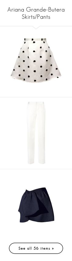 """""""Ariana Grande-Butera Skirts/Pants"""" by taught-to-fly19 ❤ liked on Polyvore featuring skirts, white knee length skirt, white skirt, pants, tailored pants, alexander mcqueen pants, alexander mcqueen, straight leg trousers, tailored fit pants and giambattista valli skirt"""