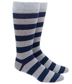 The Tie Bar Super Stripe Navy and Gray Men's Cotton Blend Dress Socks: Men's shoe size Machine washable Hand-sewn toe stitching We're TheTieBar, the trendy neckwear company endorsed by GQ Magazine. Black Suit Brown Shoes, Mens Striped Socks, Sock Tie, Tie And Pocket Square, Pocket Squares, Dress Socks, Men's Socks, Crazy Socks, Socks