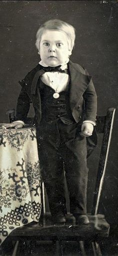 """Charles Sherwood Stratton was born 4 January 1838, and his growth virtually stopped at six months, reaching only one meter at adulthood. He was picked up by P.T. Barnum and became a huge circus success as """"General Tom Thumb."""""""