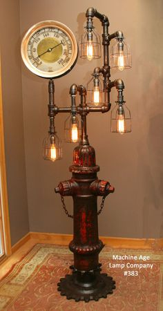Industrial 1923 Antique ST Paul Fire Hydrant Floor Lamp, with Steam Gauge - #383…
