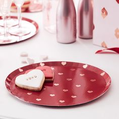 Bordjes rood met rosé hartjes (8st) Ginger Ray | Partydeco.nl