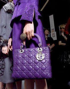 Purple Lady Dior - on the wish list The Purple, All Things Purple, Shades Of Purple, Purple Style, Dior Handbags, Handbags On Sale, Purses And Handbags, Purple Handbags, Cheap Handbags