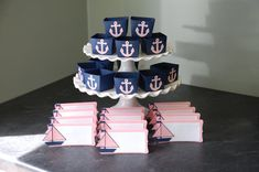 Nautical Package, Candy Cups Place Cards Anchors Sailboats, Baby Shower, Navy Pastel Pink