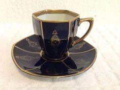 Antique Fraureuth Saxony Germany Cobalt Blue Gold Gilt Demitasse Tea Cup Saucer